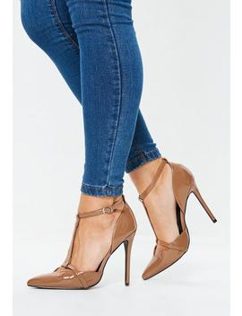 Tan T Bar Pumps by Missguided