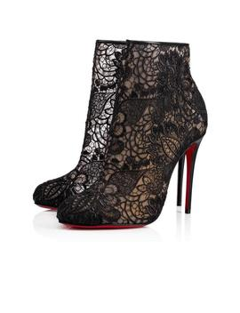 Black Miss Tennis 100 Nude Mesh Lace Stiletto Heel Boot Bootie Pumps by Christian Louboutin