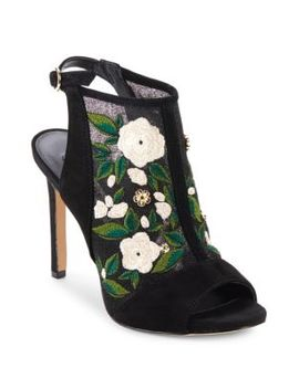 Kater Suede Floral Embroidered Sandals by Karl Lagerfeld Paris