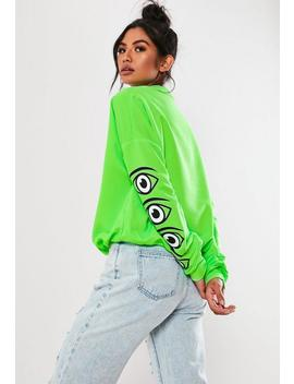 Neon Green Graphic Print Sweatshirt by Missguided