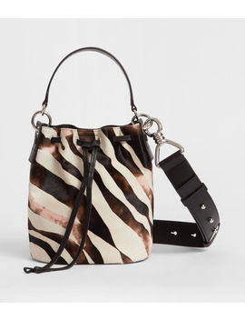 Captain Leather Zebra Small Bucket Bag by Allsaints