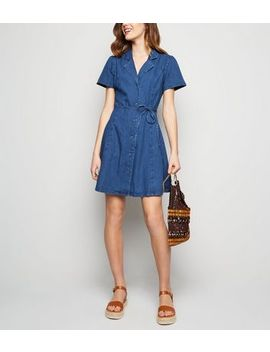 Mid Blue Denim Tea Dress by New Look