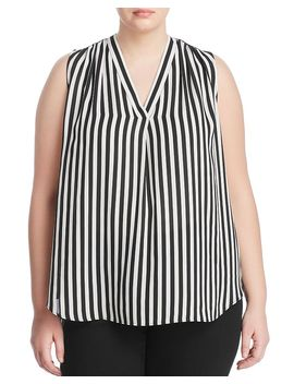 Striped Shirred V Neck Blouse by Vince Camuto Plus