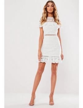 White High Neck Lace Frill Mini Dress by Missguided