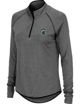 Colosseum Women's Michigan State Spartans Grey Quarter Zip Shirt by Colosseum