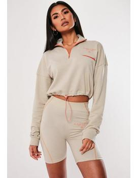 Stone Slogan Crop Sweatshirt by Missguided
