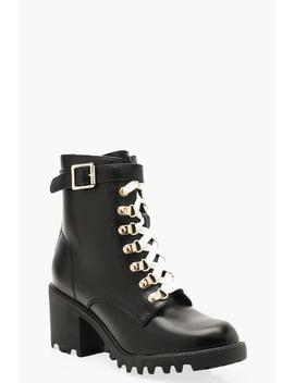 Block Heel Contrast Lace Hiker Boots by Boohoo