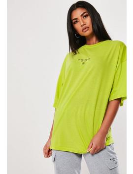 Lime Drop Shoulder T Shirt by Missguided