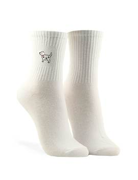 Embroidered Dog Crew Socks by Forever 21