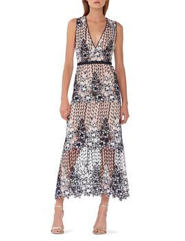 Two Tone Lace Tea Length Dress by Ml Monique Lhuillier