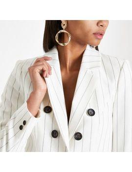 Cream Stripe Tailored Blazer by River Island