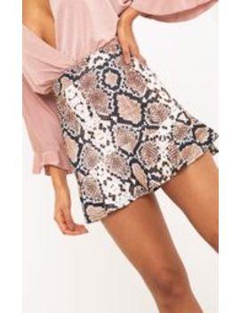 Verity Taupe Snake Print Flippy Hem Mini Skirt  by Prettylittlething