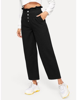 Frill Waist Button Up Jeans by Romwe