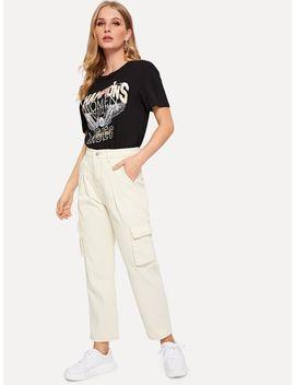 Solid Pocket Side Jeans by Romwe