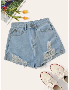 Destroyed Ripped Denim Shorts by Romwe