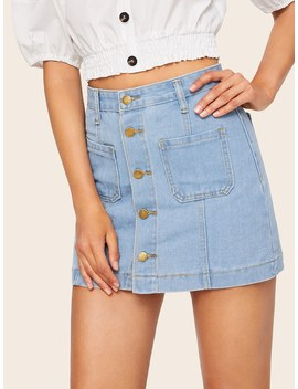 Pocket Front Single Breasted Denim Skirts by Romwe