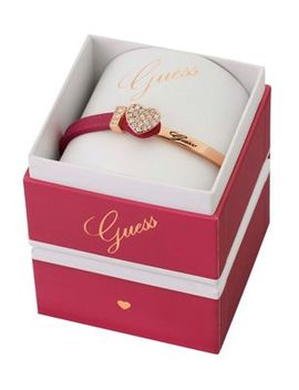 Guess   Rose Gold Plated Bracelet With A Pink Leather And Rose Gold Strap Ubs91311 by Guess