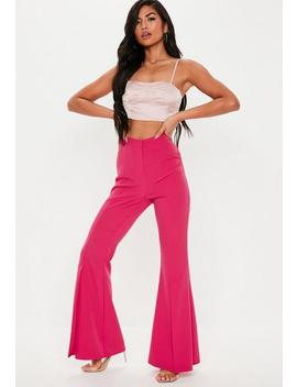 Pink Split Front Flare Trousers by Missguided