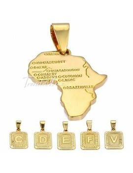 Mens Womens Unisex Yellow Gold Filled Gf Initial Letter Africa Map Pendant Gift by Trendsmax