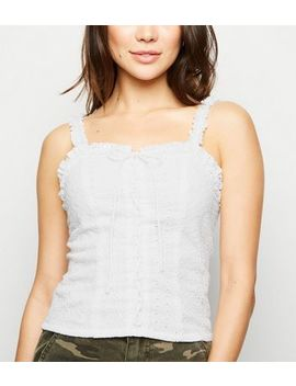 White Broderie Lace Up Cami by New Look
