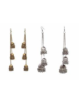 Decor Tales Combo Set Pair Of 2 Kashmiri Bollywood Style Bohemian Vintage Retro Drop Dangle Long Oxidized Indian Statement Ghungroo Tassel Jhumka Jhumki Earrings For Women by Decor Tales