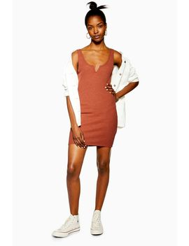 Rust Waffle Notch Bodycon Dress by Topshop