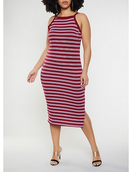 Plus Size Striped Tank Midi Dress by Rainbow