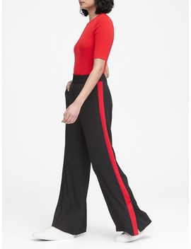 High Rise Wide Leg Side Stripe Pant by Banana Repbulic