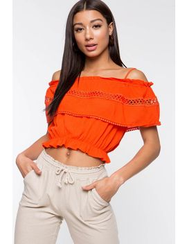 Crochet Linen Cold Shoulder Top by A'gaci