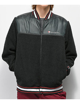 Champion V3375 Sherpa Black Bomber Jacket by Champion