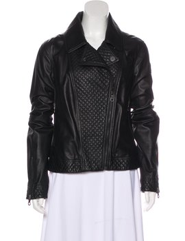 Quilt Accented Leather Jacket by Chanel