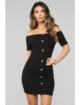 Justine Off Shoulder Dress   Black by Fashion Nova