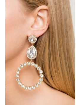 Aurora Rhinstone Ring Drop Glam Earrings by A'gaci