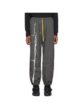 Grey Tree Print Parachute Lounge Pants by Oakley By Samuel Ross