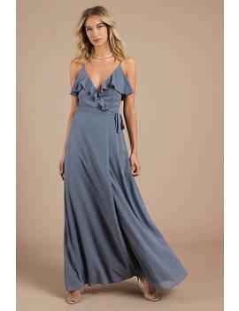 Kristen Black Wrap Maxi Dress by Tobi