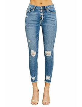 Kan Can Jeans Addison Pia Button Fly High Rise Distressed Ripped Skinny Jeans Kc8389 M by Kan Can