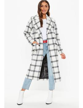 Tall Cream Oversized Check Coat by Missguided