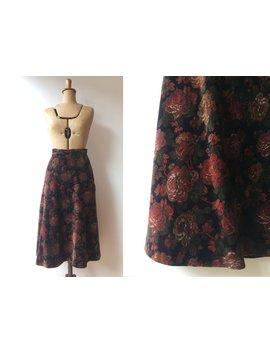 Vintage 70s Velvet Skirt / Floral Skirt / 1970s / Small by Etsy
