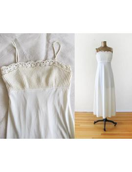 Vintage 70s Maxi Dress   Off White Crochet Maxi Dress   Bohemian Wedding Dress   Summer Maxi Dress   Disco 1970s Clothing   Long White Dress by Etsy