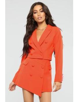 Head Babe In Charge Blazer Set   Orange by Fashion Nova