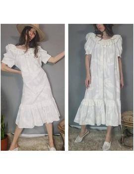 Vintage 70s 80s Muumuu Dress Hawaiian Dress Puff Sleeve Sack Dress Ruffles M L by Etsy