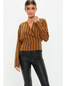 Black Stripe Wrap Deep Button Hem Blouse by Missguided