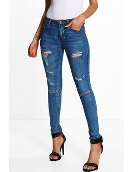 Petite Mid Rise Skinny Jeans by Boohoo