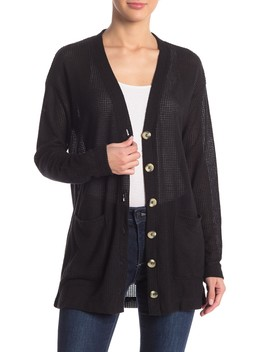 Waffle Knit Horn Button Cardigan by Socialite