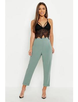 Petite High Waist Tapered Trouser by Boohoo
