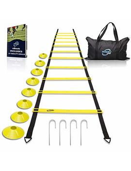 Invincible Fitness Agility Ladder Training Equipment Set, Improves Coordination, Speed, Explosive Power And Strength, Includes 8 Cones + 4 Hooks For Outdoor Workout by Invincible Fitness