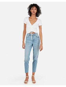 Express One Eleven Abbreviated Cinched Tie Front Ribbed Top by Express