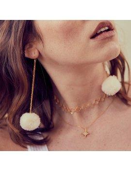 Tabitha Pom Pom Drop Earrings   White by Rock N Rose