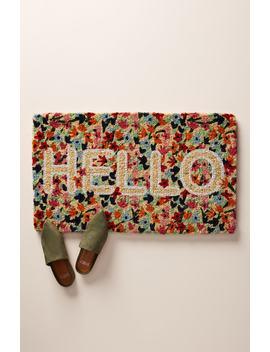 Floral Hello Door Mat by Anthropologie