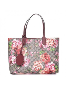 Gucci Textured Calfskin Gg Supreme Monogram Blooms Print Medium Reversible Tote Antique Rose by Gucci